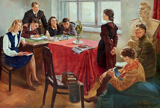 Картина Приём в комсомол. 1949 год.