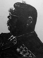 Ex soviet leader Brezhnev. Famous people silhouettes