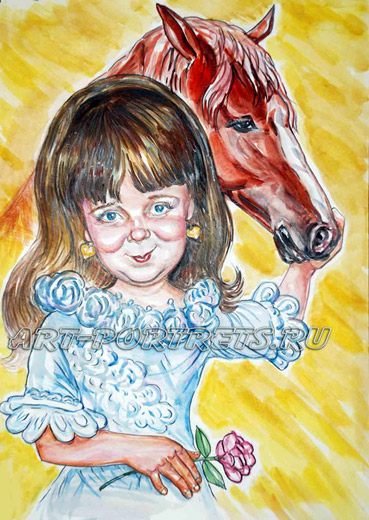 Russian children's cartoons. little girl and her race horse