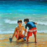 Painting children playing on the beach