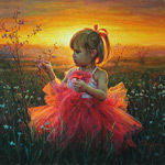 Painting little girl against the evening sunset