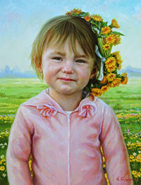 Portrait of little girl with dandelions
