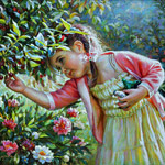 Painting little girl with cherry