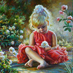 Painting a little girl with a flower 2015