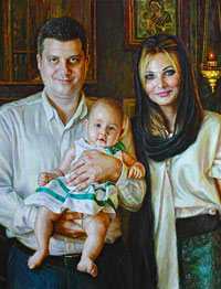 Family portrait at the christening in the Russian Church