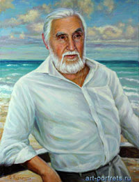 Portrait of a old man against azure sea