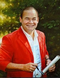 Oil Portrait of a man in a red jacket