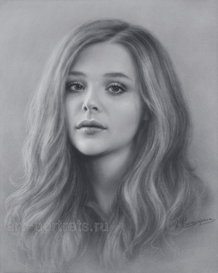 Chloe grace moretz drawing portrait by dry brush
