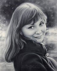 Portrait drawing russian pretty girl