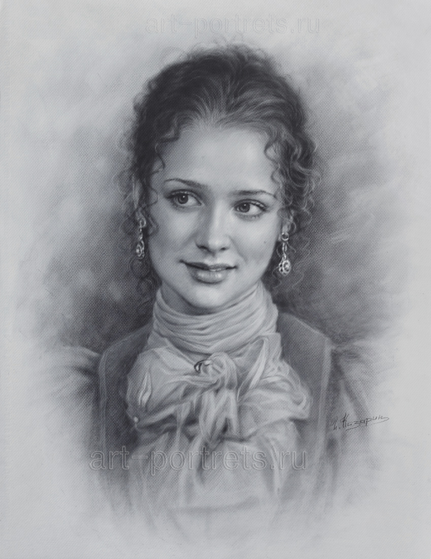 Drawing of beautiful girl portrait of girls