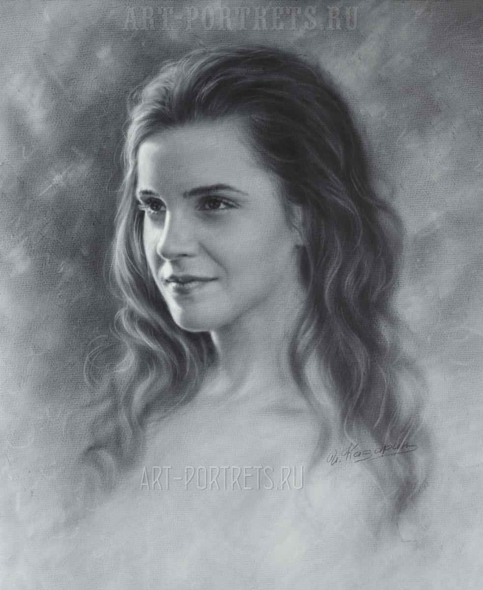Emma Watson drawing portrait video эмма уотсон