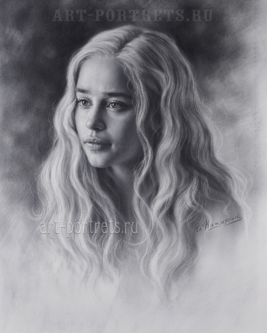 Dry brush beauty emilia clarke drawing 7 2018