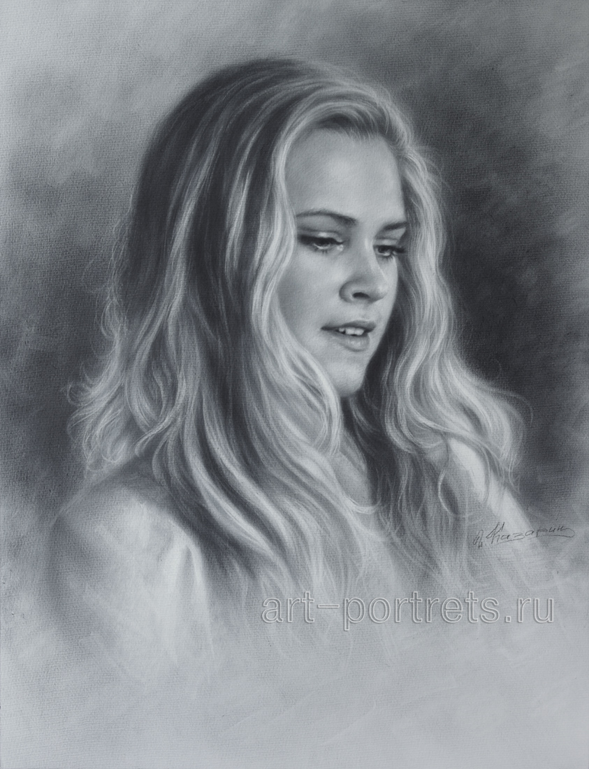 Eliza taylor drawing portraits by dry brush