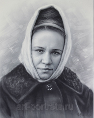 Portrait of a Russian woman in a scarf