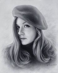 Portrait of a pretty girl in a beret 2015