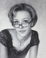 Drawing from a photo girl in sunglasses