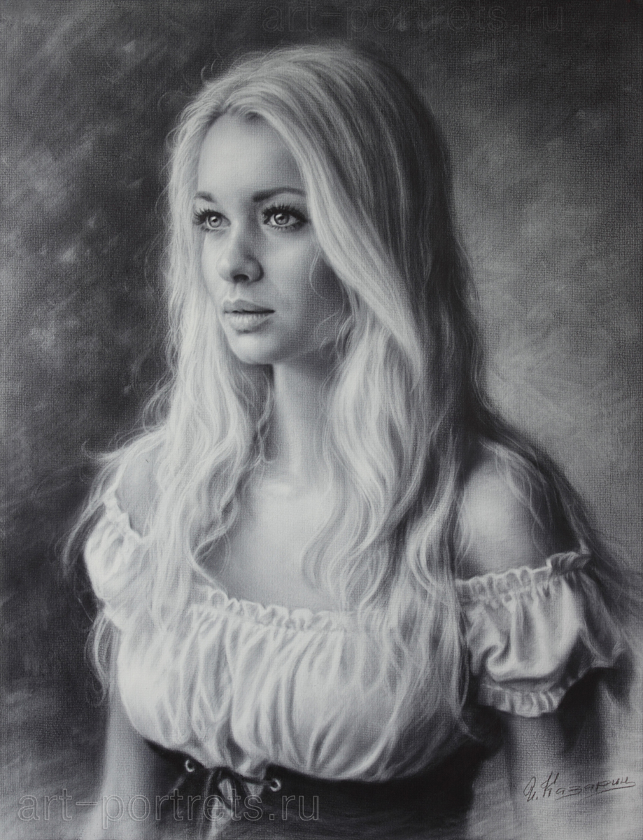 Portrait of beauty girl in a beautiful dress 2015 drawing