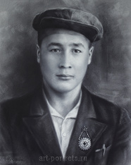 Male portrait is drawn from the old photo