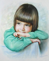Children's drawing color portrait by dry brush