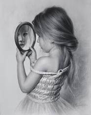 Black and white portrait of a little girl with a mirror by Dry brush 2015