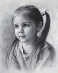 Drawing of a little girl by Dry brush 2015