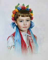 Colorful Portrait Drawing of a Little Ukrainian Girl by Dry Brush 2015