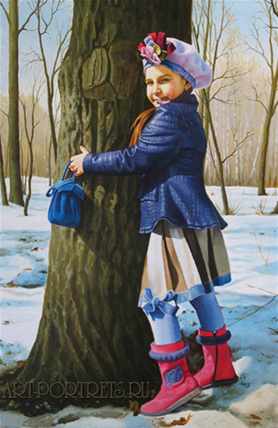 Portrait of a young girl near the tree