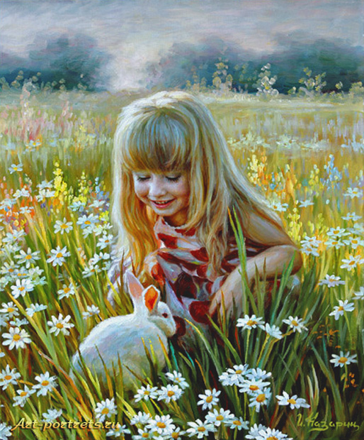 Painting a little girl and a rabbit