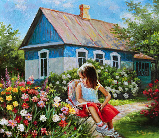 Painting a little girl in a village near the house with flowers