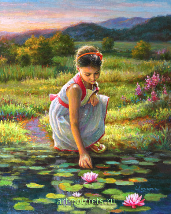 Painting little girl with a lily