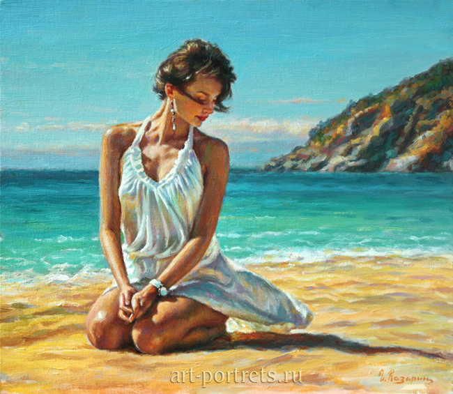 Painting girl on the beach