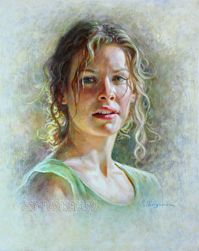 Oil paintings portrait. Portrait from picture