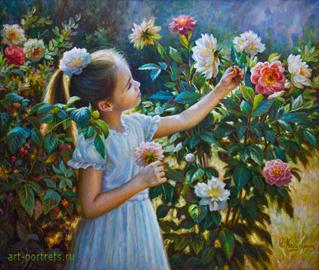 Painting Little girl with peonies 2016