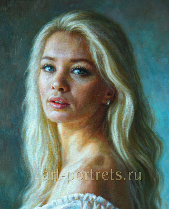 портреты девушек маслом: