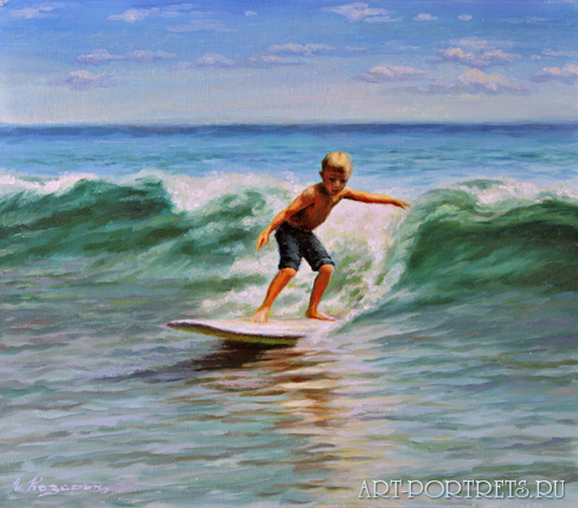 Painting a surfer boy at sea