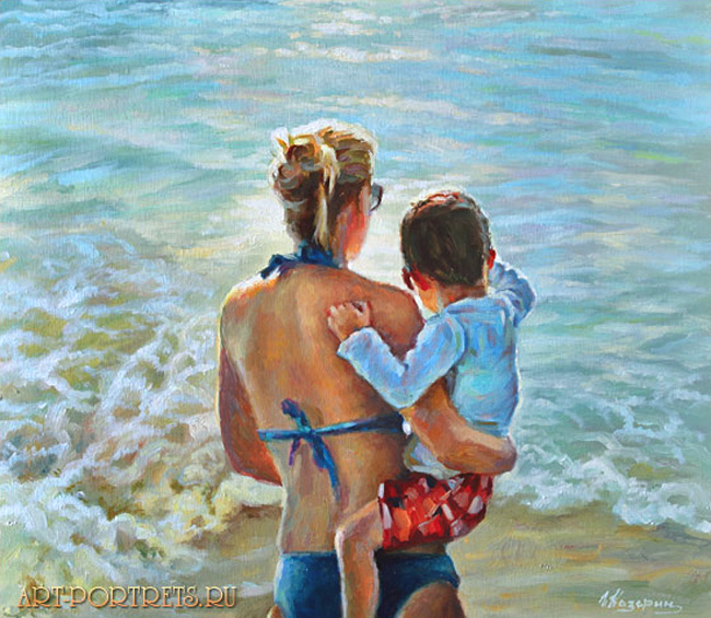 Mother and son at sea painting