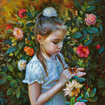 Painting of a little girl with a butterfly 2016