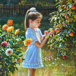 Painting of a little girl with apples in the garden 2016