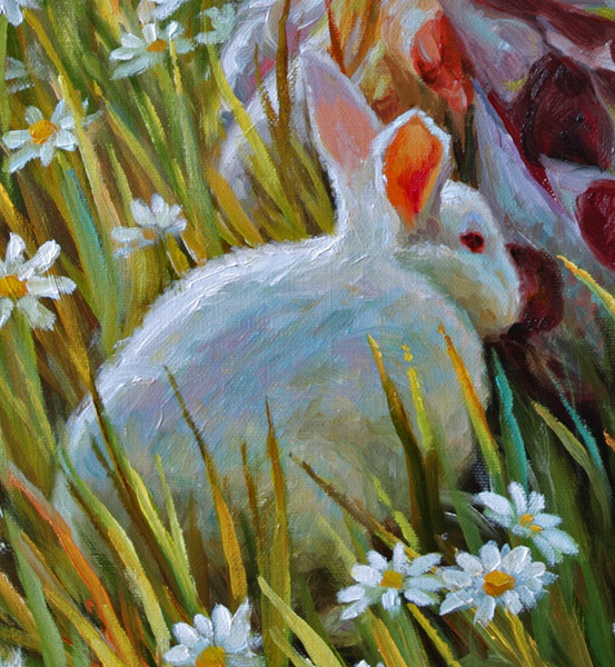 Картина девочка и кролик 2014 г