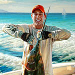 Detail of a fisherman with a marlin