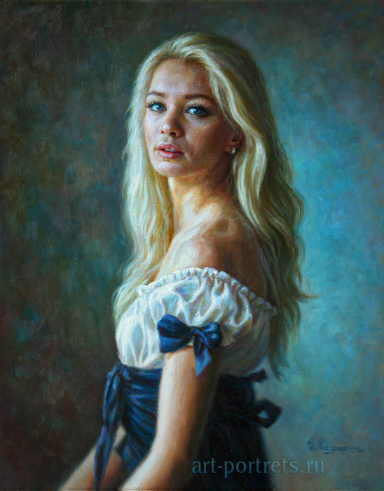 Portrait of a girl in a classical style oil painting on canvas
