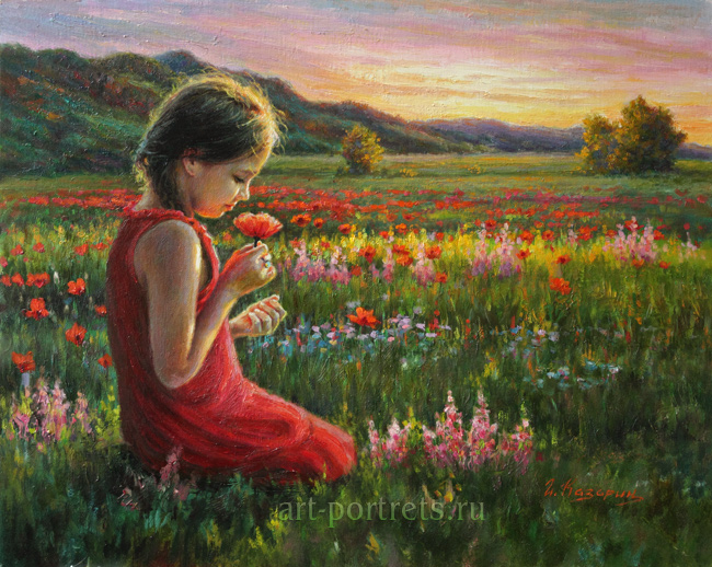 Painting of a little girl with strawberry