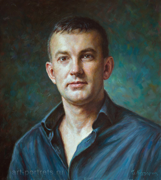 Man portrait oil painting. Portrait painting from picture