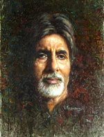 Amitabh Bachchan, Oil Painting Portraits of famous people of India