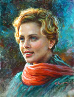 Charlize Theron, Oil Painting of famous actors
