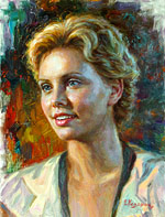Charlize Theron, Oil Painting of famous people