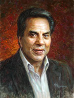 Dharmendra Dharam Singh Deol, Oil Painting Portraits of famous people of India