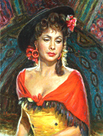 Gina Lollobrigida, Oil Painting of famous people
