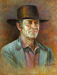 Painting Portrait of American actor Henry Fonda