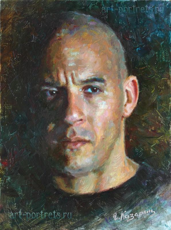 Vin Diesel Portrait Painting